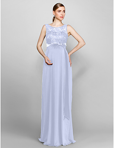 9b4e38d56da Sheath   Column Scoop Neck Floor Length Lace   Knit Bridesmaid Dress with  Lace by LAN TING BRIDE®   Open Back