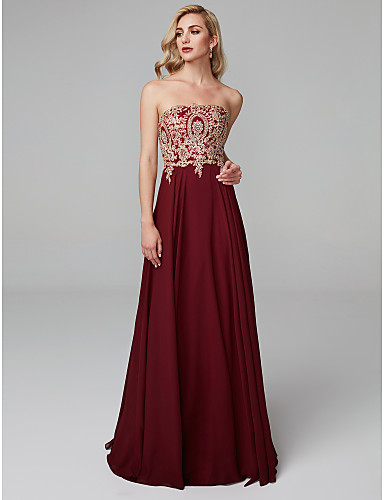 גזרת A סטרפלס עד הריצפה שיפון נשף רקודים / ערב רישמי שמלה עם אפליקציות על ידי TS Couture®