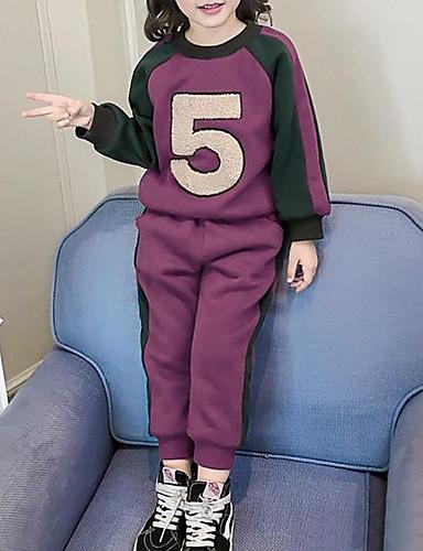 Komplet odzieży Bawełna Poliester Dla dziewczynek Litera i numer Zima Jesień Purple