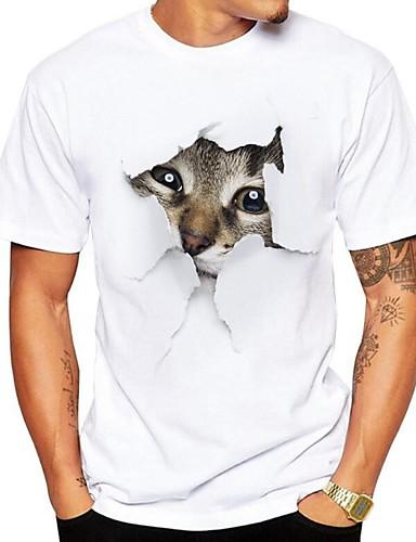 billige T-shirts og undertrøjer til herrer-Rund hals Herre - Dyr Trykt mønster Gade Plusstørrelser T-shirt Grå XL / Kortærmet / Sommer