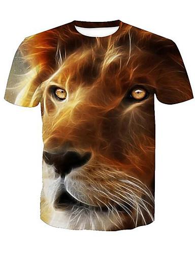 voordelige Heren T-shirts & tanktops-Heren Actief Print T-shirt dier Ronde hals Leeuw Geel / Korte mouw / Zomer