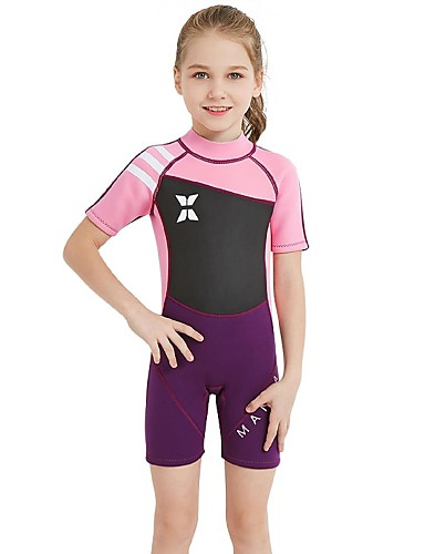 Girls  Shorty Wetsuit 2.5mm Spandex SCR Neoprene Diving Suit Sun Shirt UV  Resistant Stretchy UPF50+ Short Sleeve Back Zip Patchwork Autumn   Fall  Spring ... 877060a94