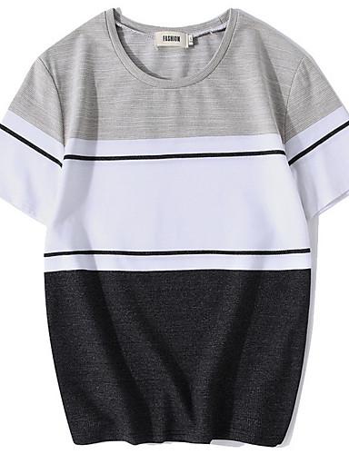 abordables Camisetas y Tops de Hombre-Hombre Básico Deportes Tallas Grandes Camiseta, Escote Redondo A Rayas Verde Trébol XL / Manga Corta