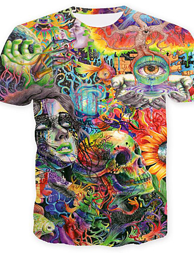 d55c9640 Men's Skull / Basic Plus Size T-shirt - Geometric / Color Block / Skull  Print Round Neck Green XL / Short Sleeve / Summer