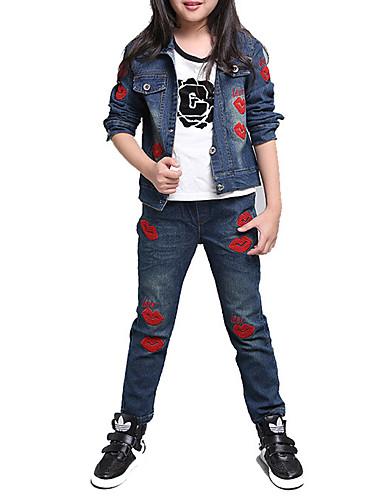 Para Meninas Jeans Diário Esportes Escola Bordado Primavera Outono Algodão Manga Longa Desenho Azul