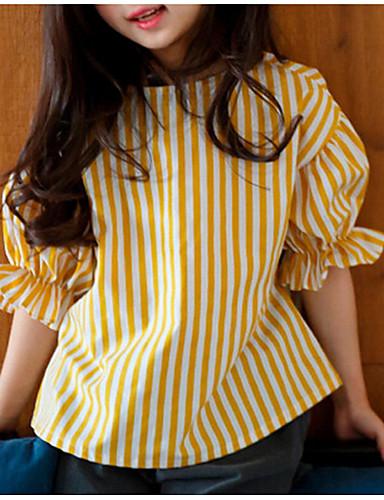 Girls' Stripe Blouse, Cotton Summer Half Sleeves Yellow