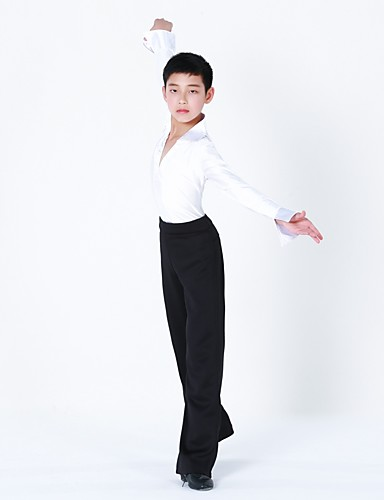 5c01ac12f17 Latin Dance Outfits Boys  Training Performance Polyester Split Joint Long  Sleeves Natural Top Pants