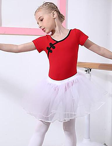 preiswerte Ballettbekleidung-Ballett Austattungen Mädchen Training / Leistung Baumwolle Spitze Kurzarm Normal Röcke / Gymnastikanzug / Einteiler