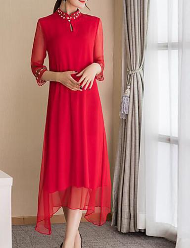 Damskie Bawełna Bufka Shift Sukienka - Jendolity kolor, Plisy Do kolan