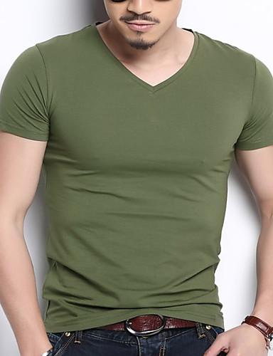 voordelige Heren T-shirts & tanktops-Heren Standaard T-shirt Effen V-hals Grijs / Korte mouw