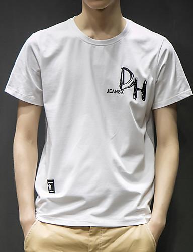 T-shirt Męskie Aktywny / Moda miejska, Nadruk Bawełna Sport Okrągły dekolt Solidne kolory / Krótki rękaw