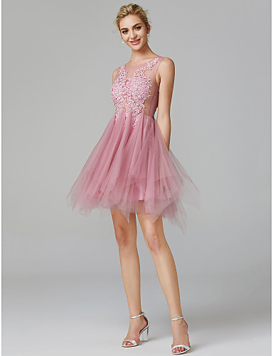 A-linja Illusion Pääntie Lyhyt / mini Pitsi tyllin päällä Kaunis selkä / See Through Prom Mekko kanssa Applikaatiot mennessä TS Couture®