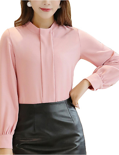Koszula Damskie Podstawowy Praca Półgolf Solidne kolory