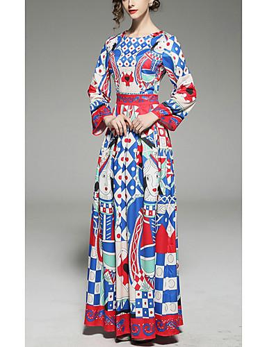 Damskie Szczupła Pochwa Sukienka - Geometric Shape Maxi