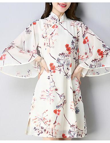 Damskie Podstawowy Shift Sukienka - Kwiaty, Nadruk Stójka Przed kolano / Lato