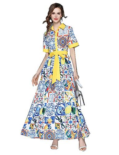 voordelige Maxi-jurken-Dames Uitgaan Standaard / Street chic Wijd uitlopend Jurk - Bloemen Overhemdkraag Maxi