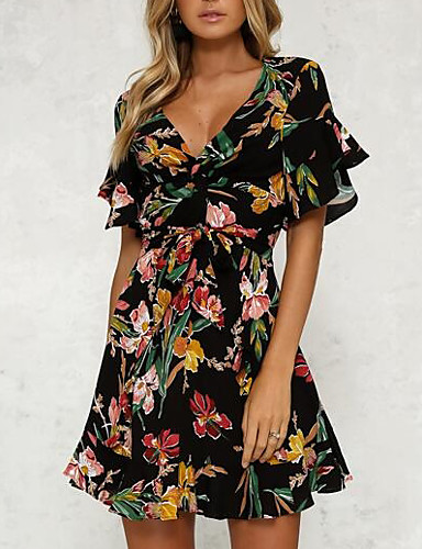 cheap Women's Dresses-Women's Floral Daily Flare Sleeve Slim Sheath Dress - Floral Black, Print High Waist V Neck Summer Black L XL XXL / Sexy