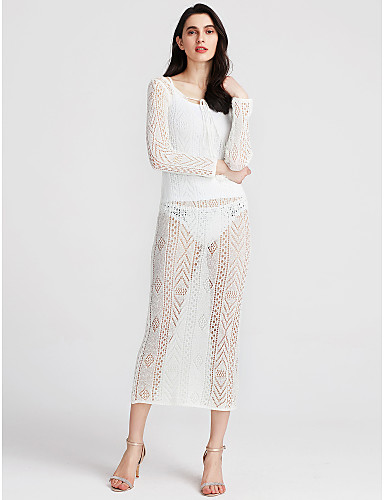 dadcd89229a Women's Sheer Going out Club Maxi Bodycon Dress - Solid Colored White, Lace  Cut Out Deep V Spring White M L XL #06297331