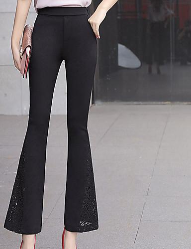 Damskie Vintage Puszysta Bawełna Typu Chino Spodnie - Pofałdowany, Solidne kolory