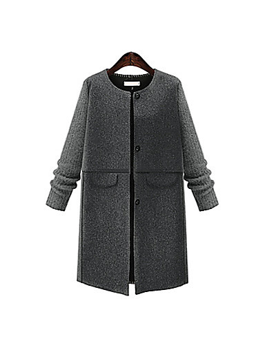 Women's Basic Plus Size Coat - Solid Colored / Fall