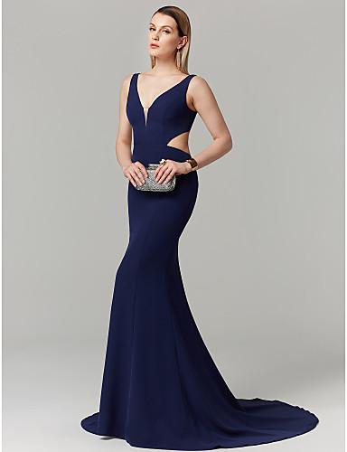 בתולת ים \ חצוצרה צלילה שובל קורט ספנדקס מסיבת קוקטייל / נשף רקודים / ערב רישמי שמלה עם קפלים על ידי TS Couture®
