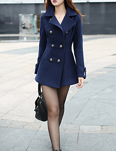 Women's Daily / Going out Vintage Fall / Winter Regular Coat, Solid Colored Peaked Lapel Long Sleeve Cotton / Polyester Pleated Red / Navy Blue M / L / XL / Puff Sleeve