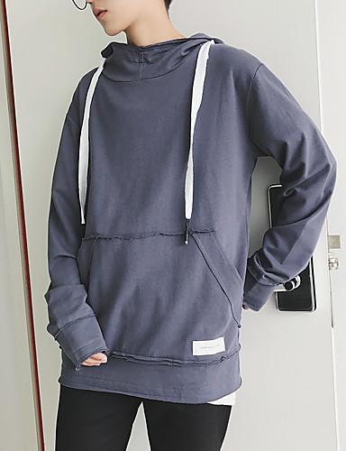 Męskie Długi rękaw Bluza z Kapturem - Solidne kolory Kaptur