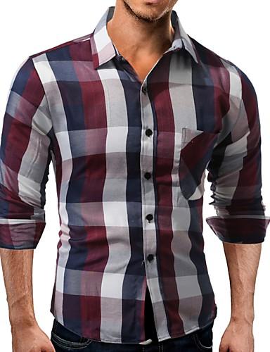 Koszula Męskie Szczupła - Kolorowy blok / Długi rękaw