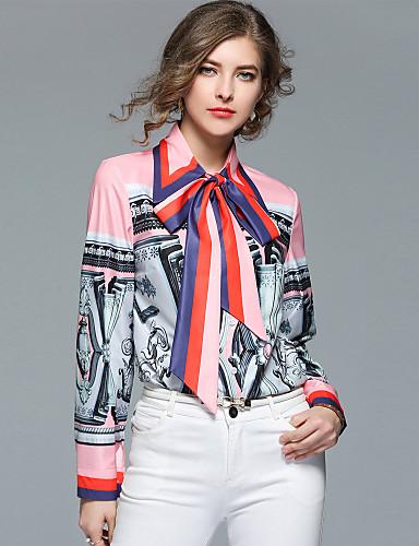 abordables Camisas y Camisetas para Mujer-Mujer Chic de Calle Trabajo Lazo Camisa, Cuello Camisero Floral