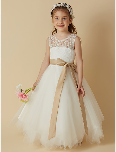 Princess Tea Length Flower Girl Dress - Lace / Satin / Tulle Sleeveless Scoop Neck with Bow(s) / Sash / Ribbon by LAN TING BRIDE®