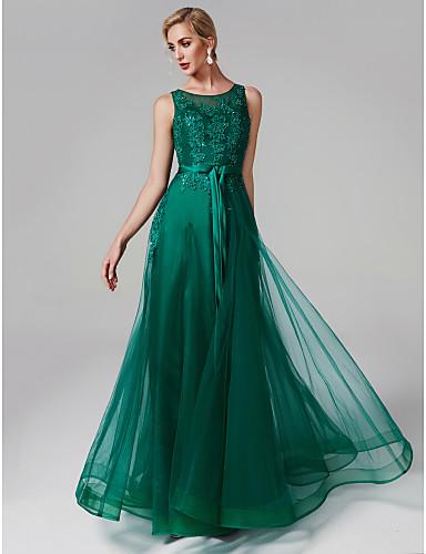 A-Linie U-Ausschnitt Boden-Länge Tüll / Perlen-Spitze Abiball / Formeller Abend Kleid mit Perlenstickerei / Applikationen durch TS Couture®