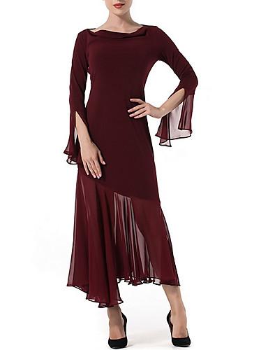 Damskie Szyfon Sukienka - Jendolity kolor Asymetryczna