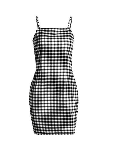 76b8a8fb2f3 Women s Plaid Holiday   Going out Denim Dress - Check Strap Summer Cotton  Blue Black M L