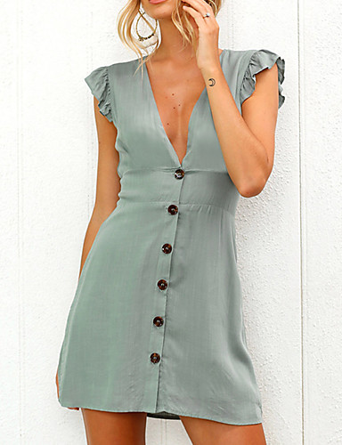 c422d02a Women's Ruffle Going out Weekend Butterfly Sleeves Mini Slim Shift Dress -  Solid Colored Ruched High Waist V Neck Spring Green White Black M L XL