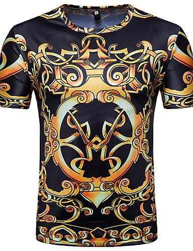 billige T-shirts og undertrøjer til herrer-Rund hals Herre - Tribal Trykt mønster Vintage / Basale T-shirt Sort L / Kortærmet