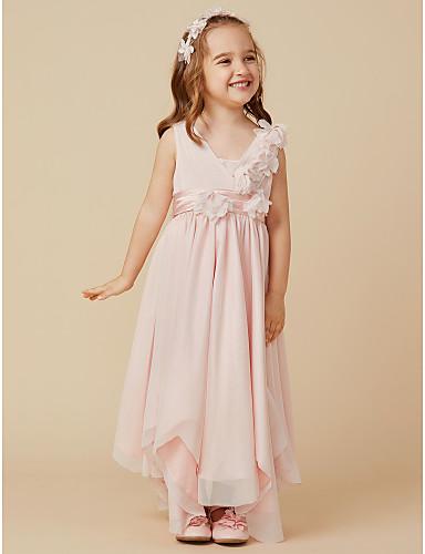 A-Line Knee Length Flower Girl Dress - Tulle Sleeveless V Neck with Bowknot / Flower by LAN TING BRIDE®