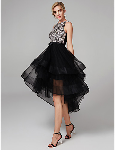 Ball Gown Jewel Neck Knee Length Satin / Tulle Sparkle