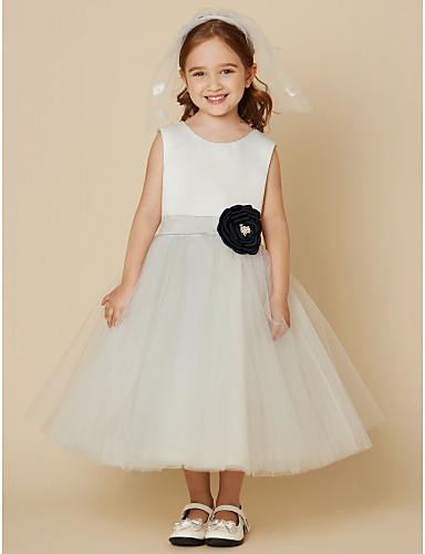 A-Şekilli Scoop Boyun Diz Boyu Saten Tül Düğme Kurdeleler Çiçekli ile Çiçekçi Kız Elbisesi tarafından LAN TING BRIDE®
