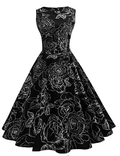 Damskie Impreza / Praca Vintage / Moda miejska Swing Sukienka - Kratka, Patchwork Midi / Lato