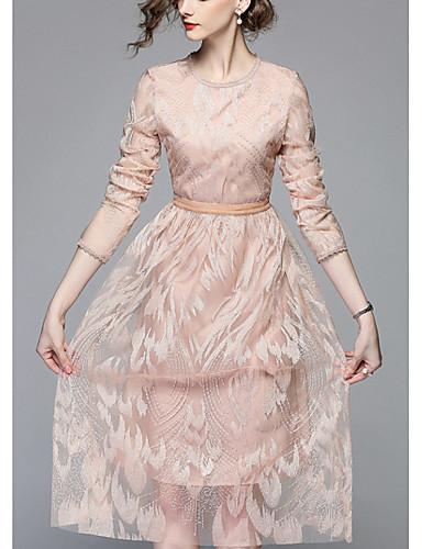 Damskie Wyjściowe Szczupła Swing Sukienka - Solidne kolory Midi