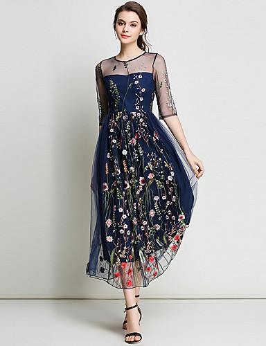 fe81b23f641e Γυναικεία Αργίες   Εξόδου Κομψό στυλ street   Εκλεπτυσμένο Γραμμή Α   Swing  Φόρεμα - Φλοράλ