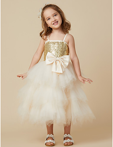 Princess Knee Length Flower Girl Dress - Satin Tulle Sequined Sleeveless Spaghetti Straps with Sequin Bow(s) by LAN TING BRIDE®