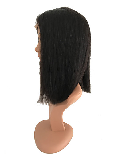 cheap Human Hair Wigs-Remy Human Hair Monofilament Lace Front Wig Bob style Brazilian Hair Eurasian Hair Straight Natural Black Wig 150% Density with Baby Hair Natural Hairline African American Wig Women's Medium Length