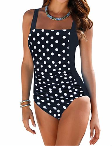 Women's Plus Size Vintage Strap Black Briefs One-piece Swimwear - Polka Dot Print XXL XXXL 4XL