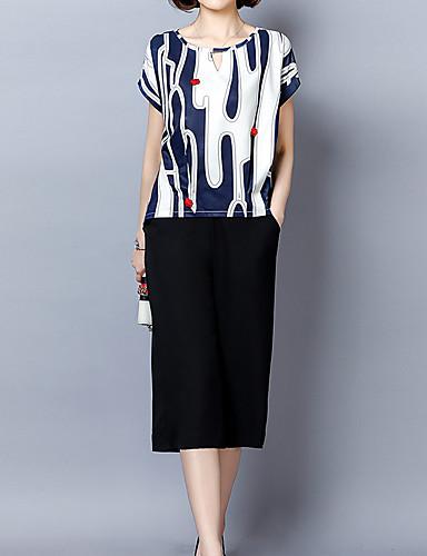 Damskie Moda miejska / Wyrafinowany styl Bluza z Kapturem - Nadruk, Geometryczny Nogawka
