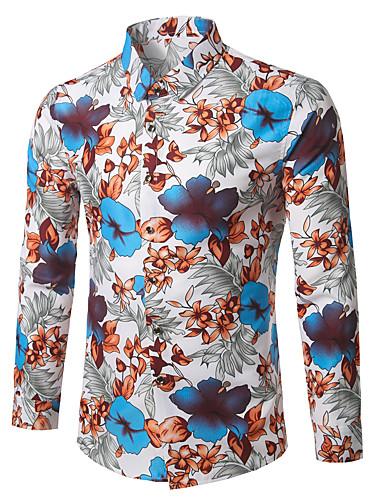 abordables Camisas de Hombre-Hombre Negocios / Vintage / Boho Trabajo Tallas Grandes Algodón Camisa Floral Rojo XXXXL / Manga Larga