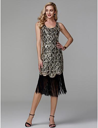 preiswerte Ausverkauf-Eng anliegend Rundhalsausschnitt Tee-Länge Polyester Strahlend & Funkelnd Cocktailparty Kleid mit Paillette durch TS Couture®