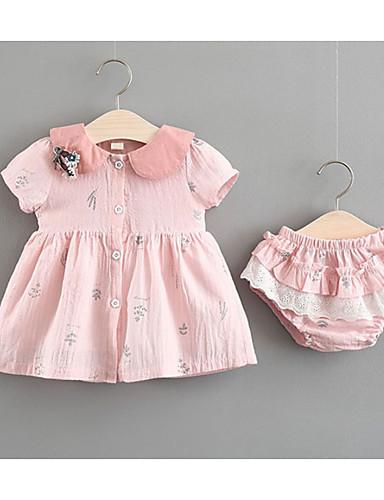 05f2a97d92fd Μωρό Κοριτσίστικα Ενεργό   Βασικό Καθημερινά Φλοράλ Στάμπα Κοντομάνικο  Κανονικό Βαμβάκι   Πολυεστέρας Σετ Ρούχων Ανθισμένο Ροζ   Νήπιο