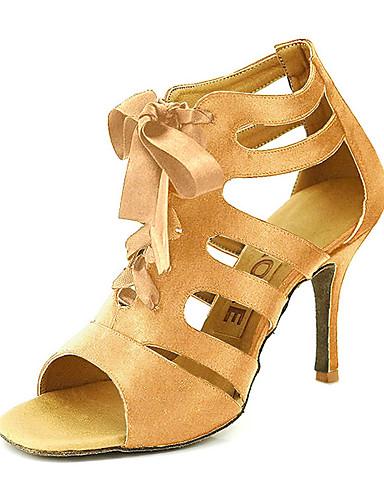 abordables Déstockage Mariages & Soirées-Femme Satin Salon / Chaussures de Salsa Boucle Sandale Personnalisables Jaune / Fuchsia / Violet / EU42