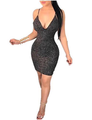 e2cded7729 Women's 2019 Club Party / Cocktail New Year Eve Sexy Skinny Bodycon Dress -  Solid Colored Backless Glitter Deep V Summer Black M L XL